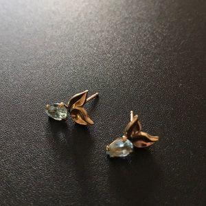 Jewelry - 14k Gold Blue Topaz Earrings